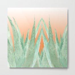 Aloe Veras pattern, Terracotta gradient background Metal Print