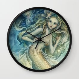 mermaid with Flowers in her hair Wall Clock