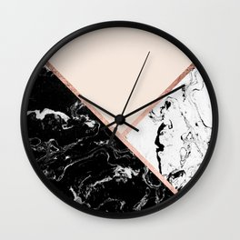 Modern black white marble rose gold color block stripes blush pink Wall Clock