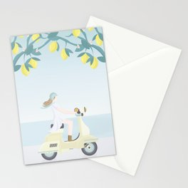 Scooter ride in the sun  past lemons and lemon trees Stationery Cards