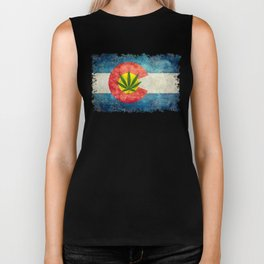 Retro Colorado State flag with leaf - Marijuana leaf that is! Biker Tank