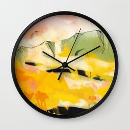 landscape abtract - paysage jaune Wall Clock