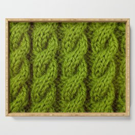 Green cable knitting stitch Serving Tray