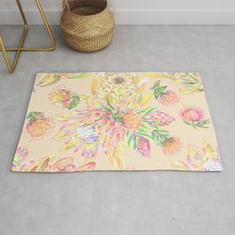 Pastel protea floral on peach Rug