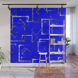 Dark carved squares and gray rhombuses on a blue background. Wall Mural