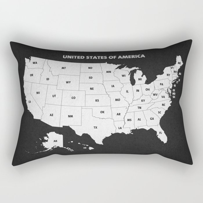 Black White U S A Map Rectangular Pillow By Champagne Society6
