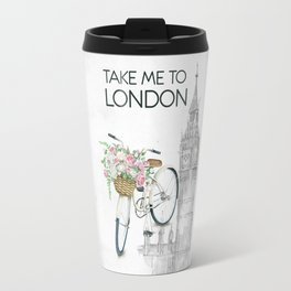 White Vintage Bicycle with Flowers in London Travel Mug