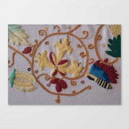 Elizabethan Embroidery Honeysuckle and Butterfly Canvas Print