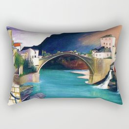 Mostar Old Town Panorama, Stari Most Bridge, Bosnia and Herzegovina by Tivadar Csontváry Kosztka Rectangular Pillow