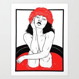 Illustration portrait of woman bathing in red Art Print