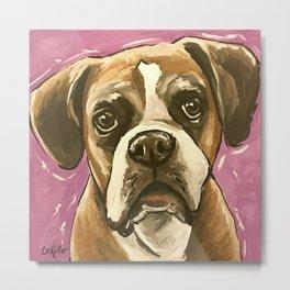 Boxer Painting, Purple Boxer Art Metal Print