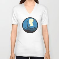 silhouette V-neck T-shirts featuring Silhouette by One Little Bird Studio