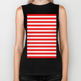 Horizontal Stripes (Red/White) Biker Tank