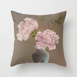 Chinese Pink Peonies in Vase Throw Pillow