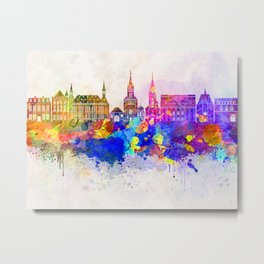 Aachen skyline in watercolor background Metal Print