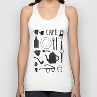 cafe Tank Tops featuring Cafe by The Printed Peanut