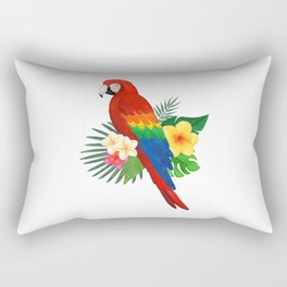 Tropical Macaw Floral Watercolor Rectangular Pillow