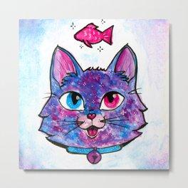 Galaxy Kitty wants some fish! Metal Print
