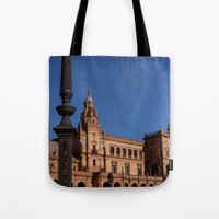 spain Tote Bags featuring Square Spain - Seville, Spain by Richard Torres Photo