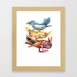 Three Birds Stacked Framed Art Print