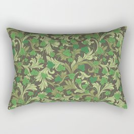 Green ivy with ornament on dark brown background Rectangular Pillow