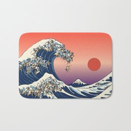 The Great Wave of Pug Badematte