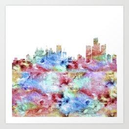 Detroit City Skyline Michigan Art Print