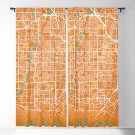 Santa Ana, CA, USA, Gold, Blue, City, Map Blackout Curtain