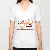manchester V-neck T-shirts featuring Manchester United by Sport_Designs