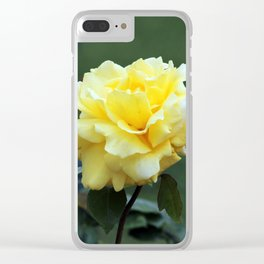 Single Yellow Rose Clear iPhone Case