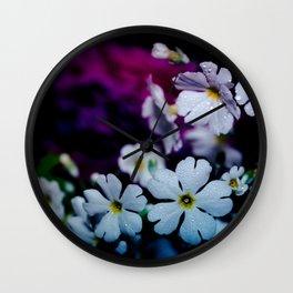 Rainy White Flowers Wall Clock