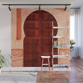 Masala Chai - Red Door in India - Millenial Pink Magenta Maroon - Antique Eclectic Travel Architecture Wall Mural