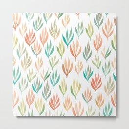 Watercolour Ferns | Green, Orange, Coral, Mint Metal Print