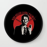 laura palmer Wall Clocks featuring Who killed Laura Palmer twin peaks v2 by Buby87