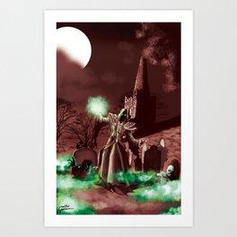 Necromancer raising the dead Art Print