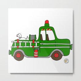 firetruck green vintage fire truck Metal Print