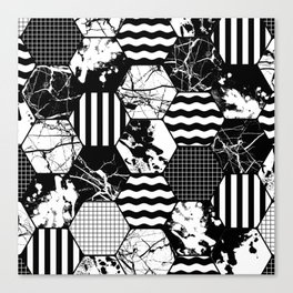 Hexual - Black and white, honeycomb, hexagon pattern, stripes, paint splats, grid and marble Canvas Print