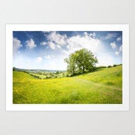 Idyllic Cotswold Summer Landscape Art Print