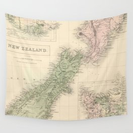 Vintage Map of New Zealand (1854) Wall Tapestry