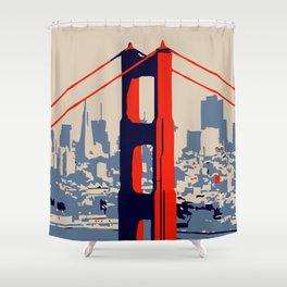 Golden gate bridge vector art Shower Curtain