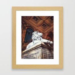 Boston Library Lion Framed Art Print