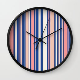 Pink Blue and Orange Stripes Wall Clock