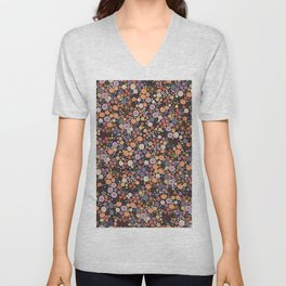 473-Fall autumn colors with ditsy cute floral pattern black background Unisex V-Neck