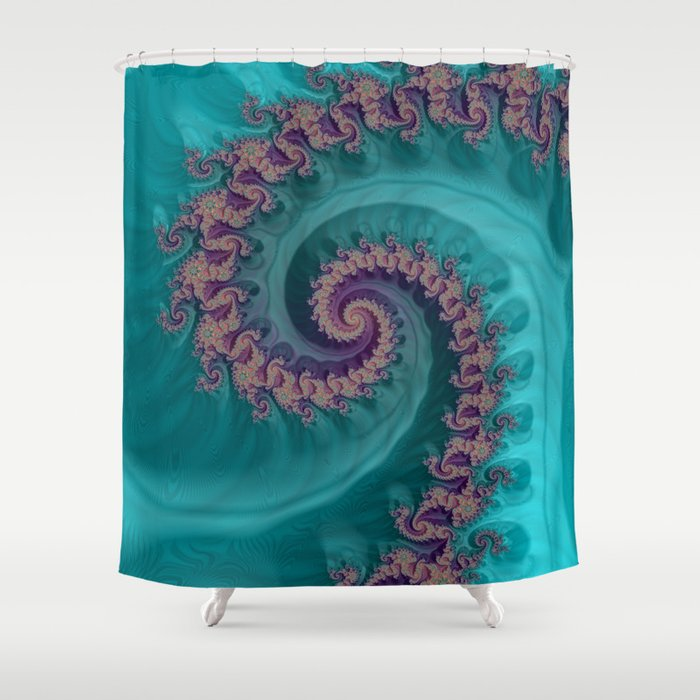 Teal Slide Fractal Art Shower Curtain