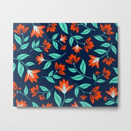 Japanese Floral Print - Red and Navy Blue Metal Print