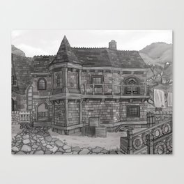 Medieval Fantasy Stone Townhouse Canvas Print