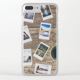 Photo prints on the table Clear iPhone Case