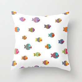 Fishes colorful fun graphic pattern design Throw Pillow