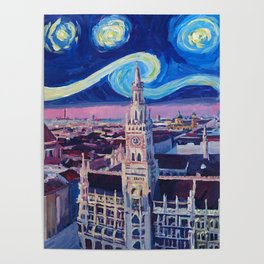 Starry Night In Munich Van Gogh Inspirations with Church of Our Lady and City Hall Poster