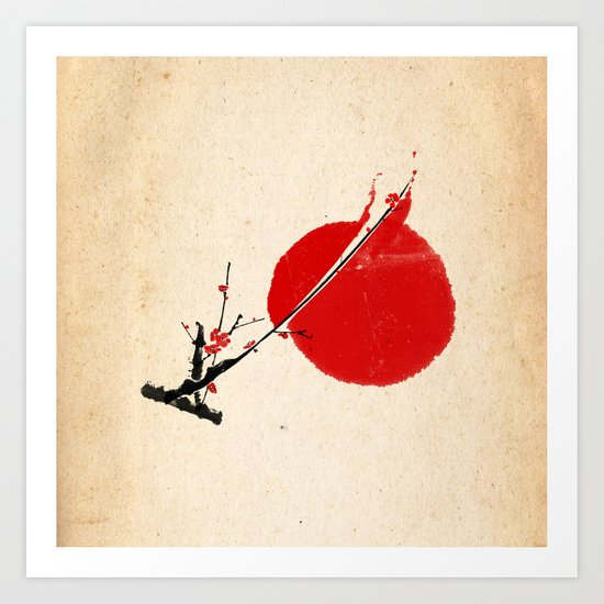 A Twig of Ume Blossoms Art Print